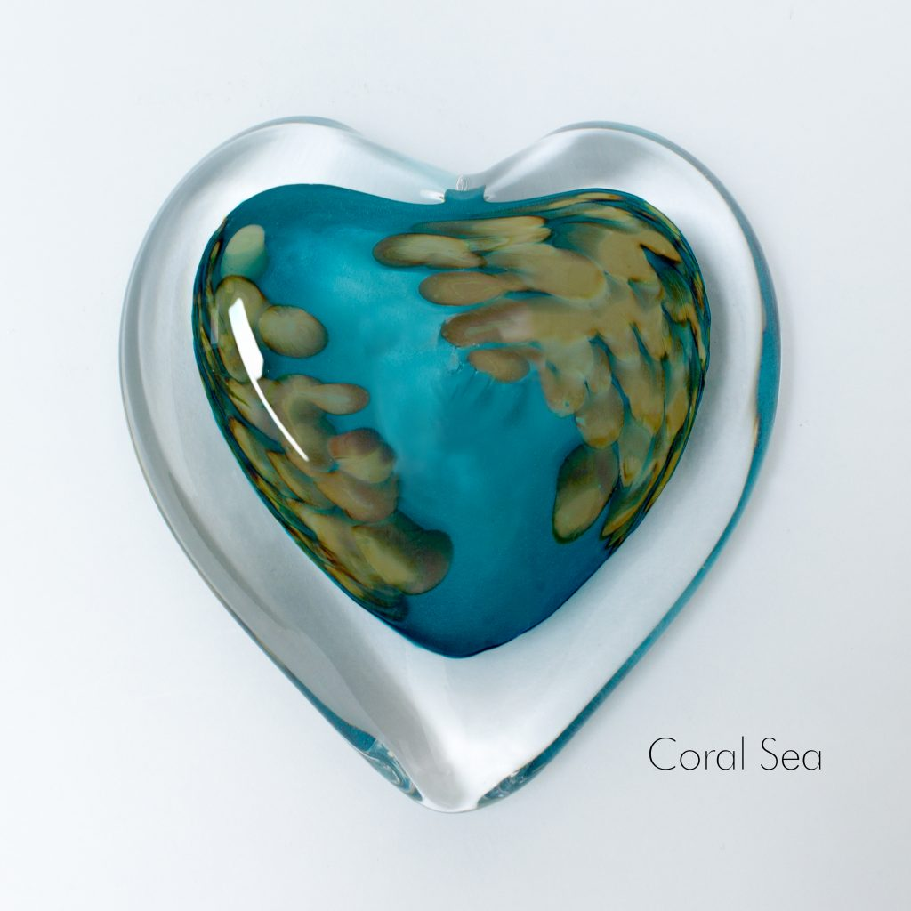 Coral Sea Heart Paperweight