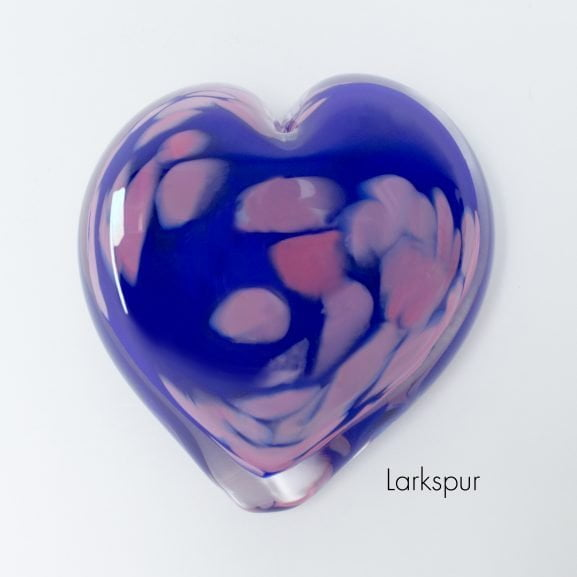 Larkspur Heart Paperweight