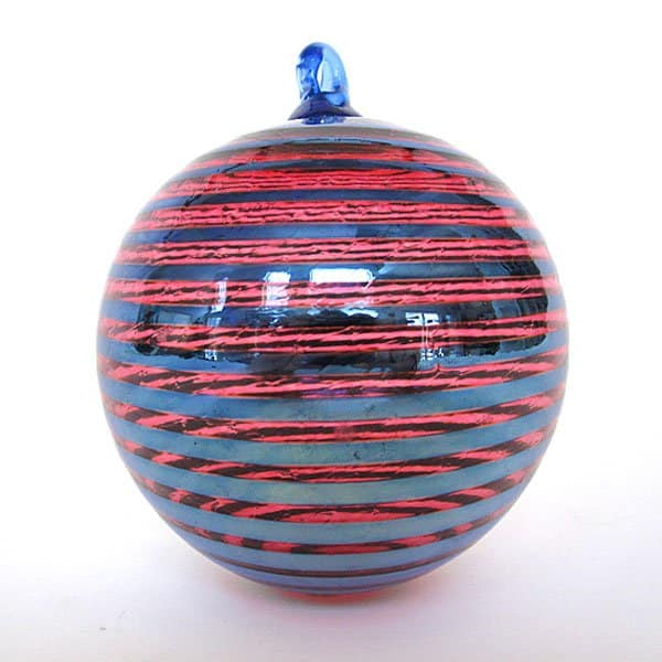 Cranberry Silver Stripe Ornament
