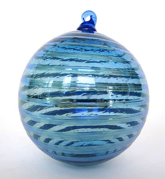 Aqua Silver Stripe Ornament