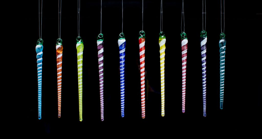 Vivid Icicle Ornaments
