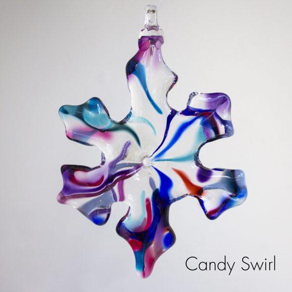 Handblown glass candy swirl snowflake ornament