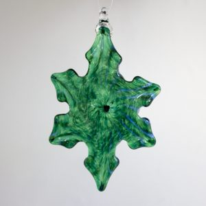 Handblown glass green & white snowflake ornament