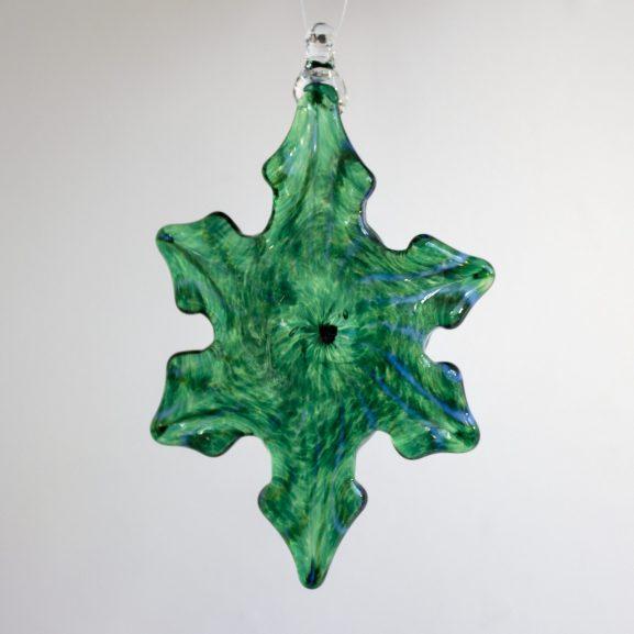 Handblown glass green & white snowflake ornament