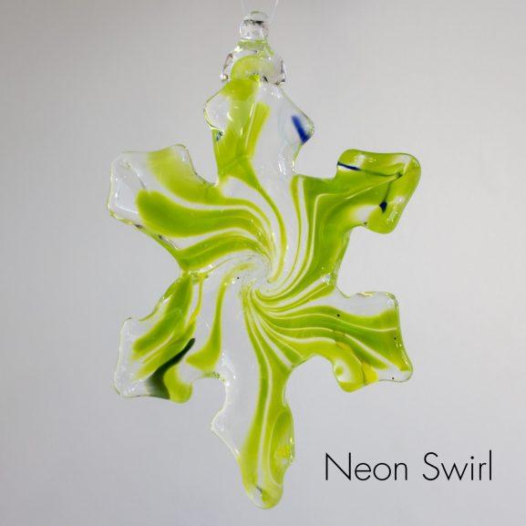 Handblown glass green neon swirl snowflake ornament
