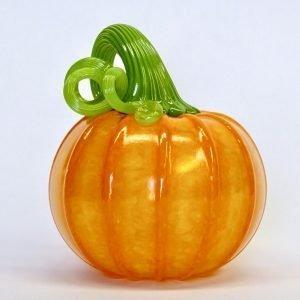Handblown glass orange pumpkin