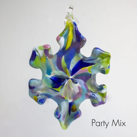 Handblown glass party mix snowflake ornament