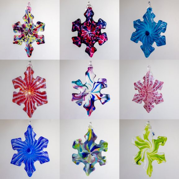 group of Handblown glass snowflake ornaments