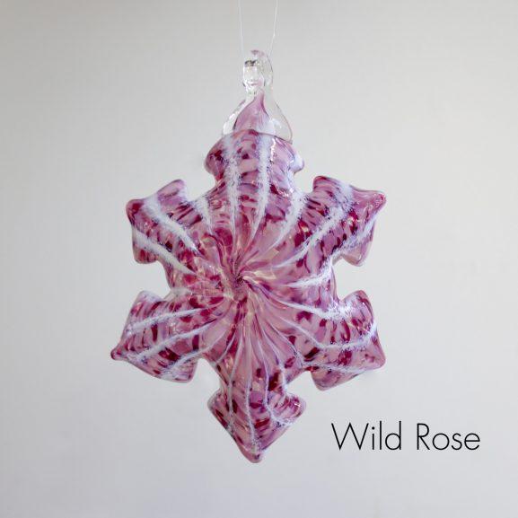 Handblown glass wild rose pink snowflake ornament