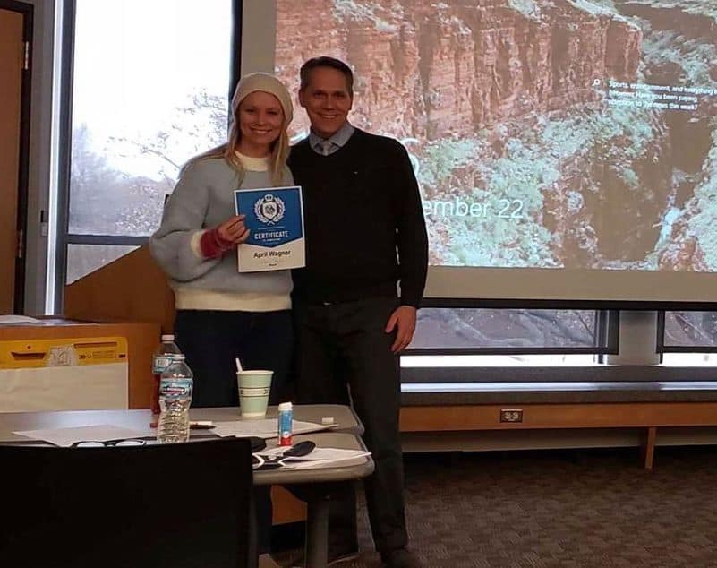 April receiving certificate for Business of Leadership course