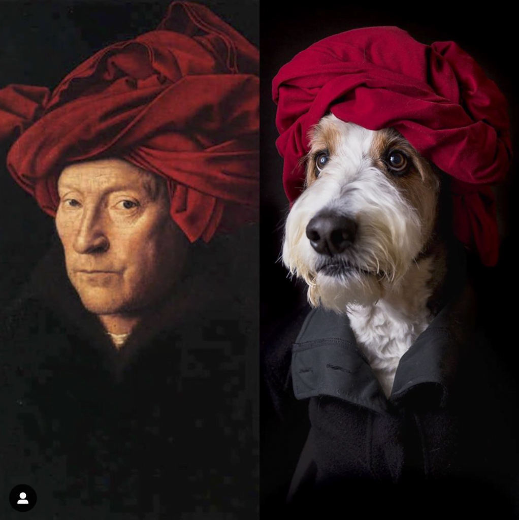 Dogs can recreate art too.