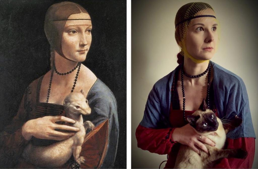 Cats enjoy recreating art too.