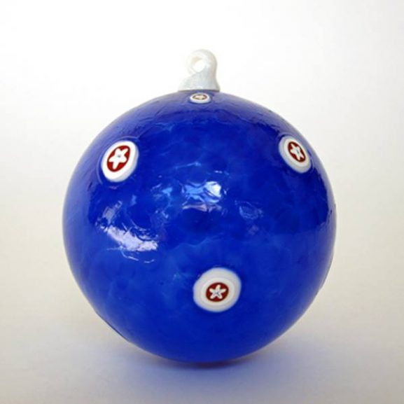 Blue Ornament with Red and White Stars