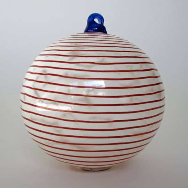 White with Red Stripe Ornament