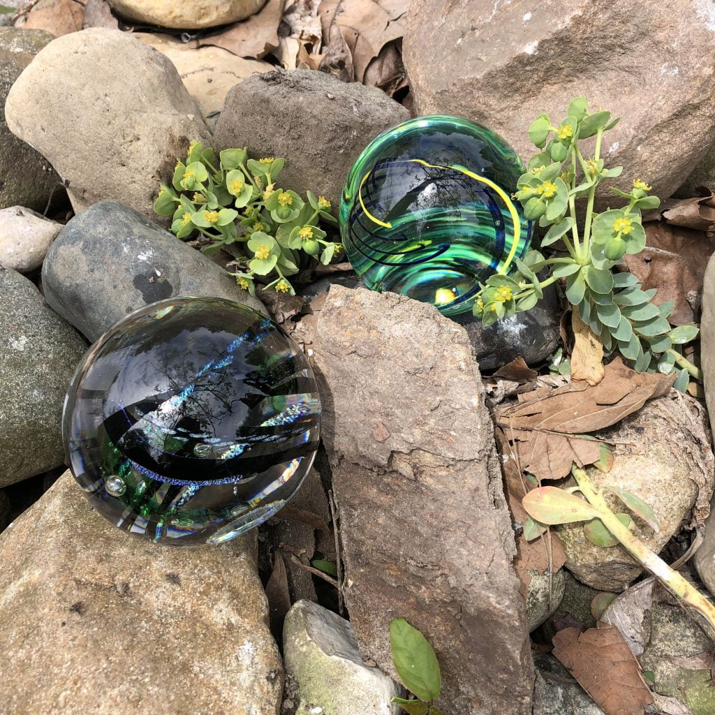 Paperweights look beautiful among rocks