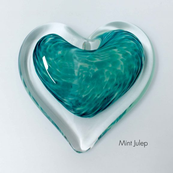 Mint Julep Heart Paperweight