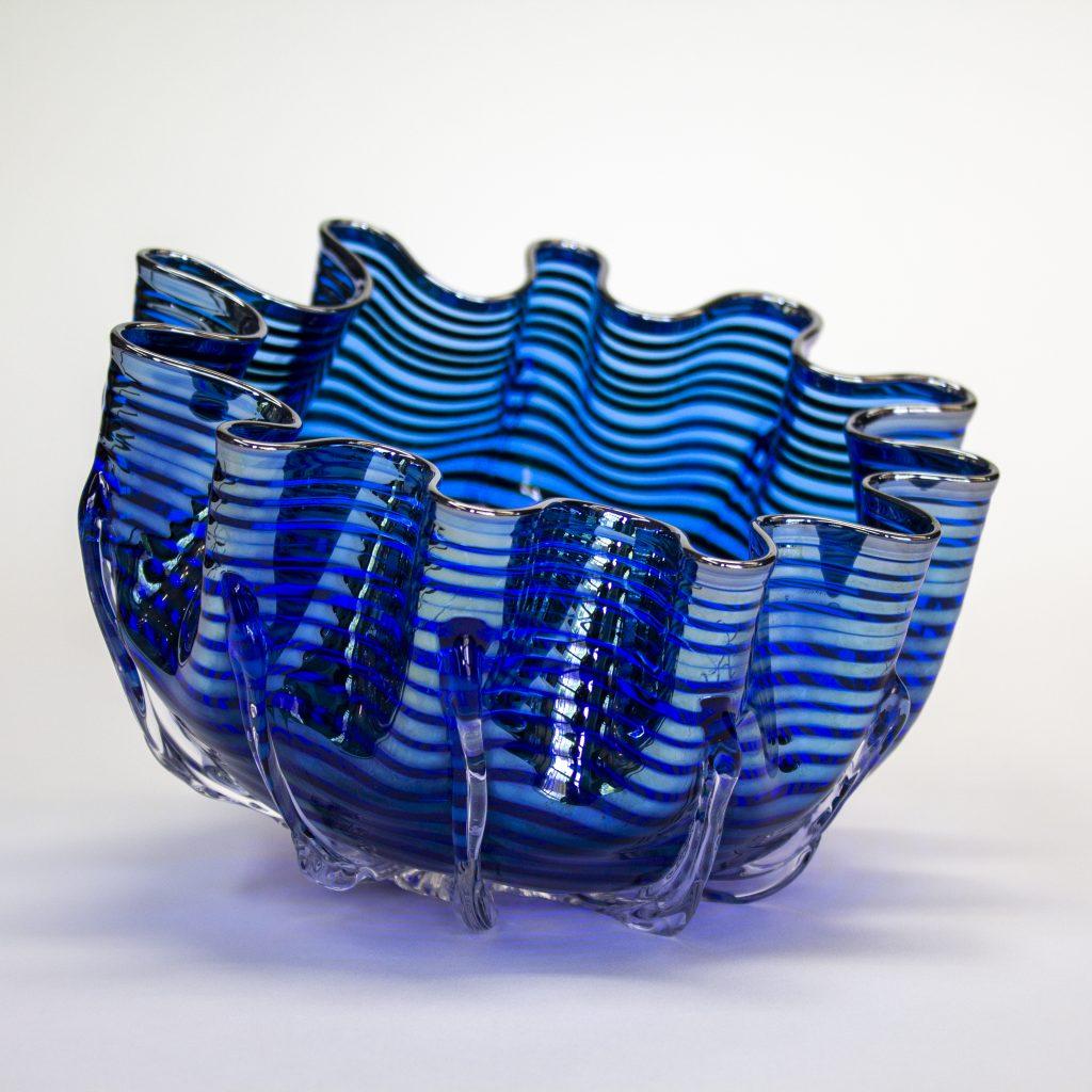 Blue Metallic Splash Bowl