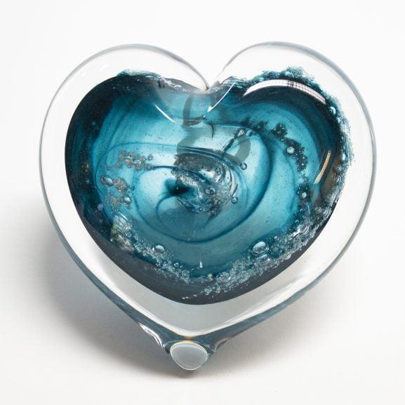 Aqua Heart Paperweight