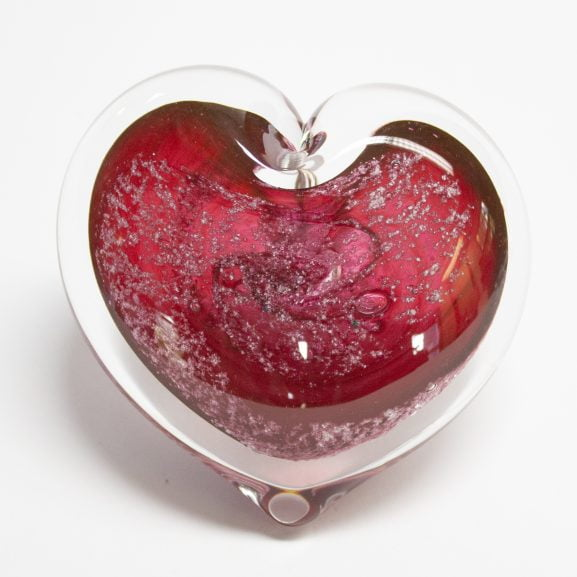 Cranberry Heart Paperweight