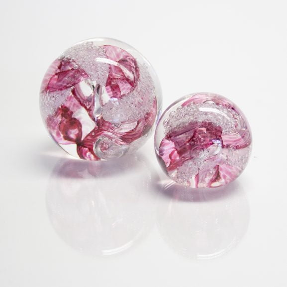 Cranberry Paperweight & Marble