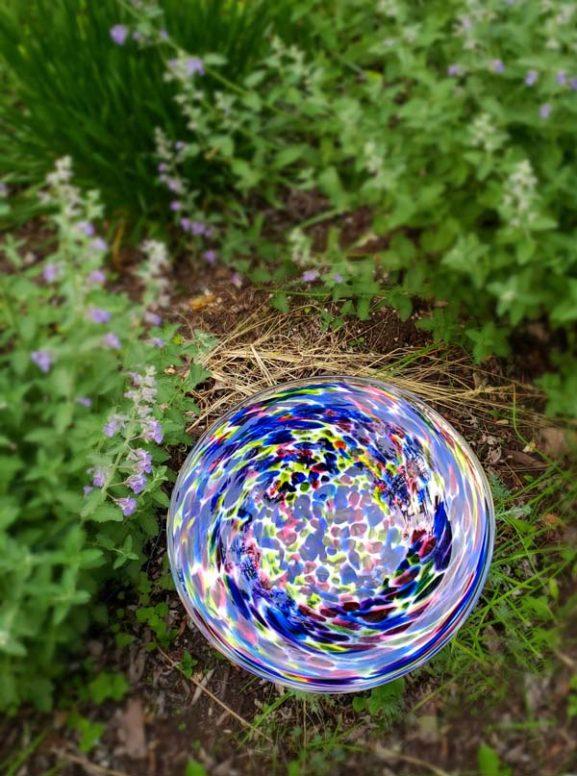 Multicolored hand blown glass bird bath